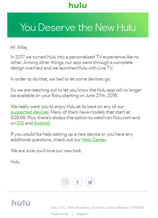 Hulu no longer supporting old Roku models - Overthrow Cable